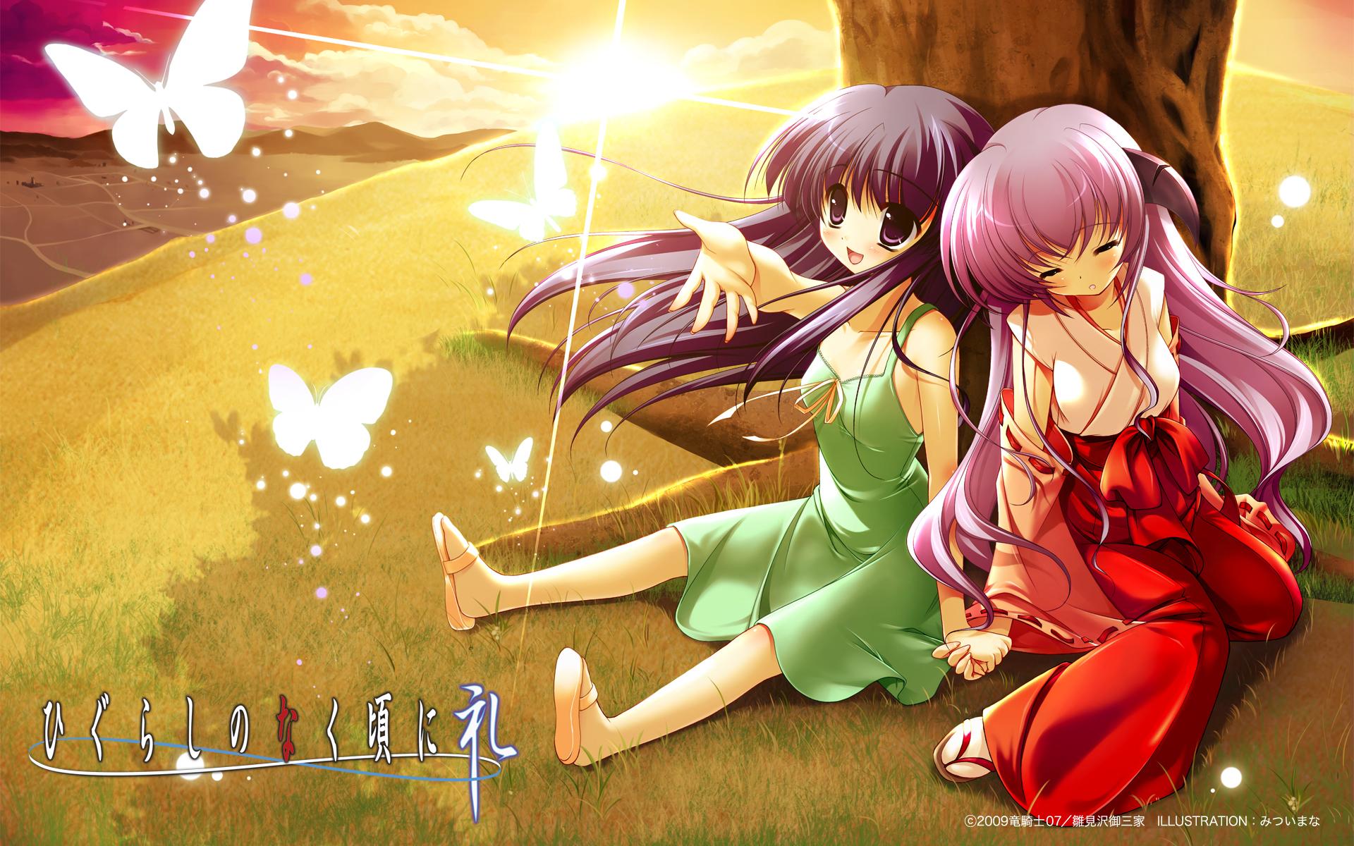 image 1349 hanyuu higurashi miko rika sleepy